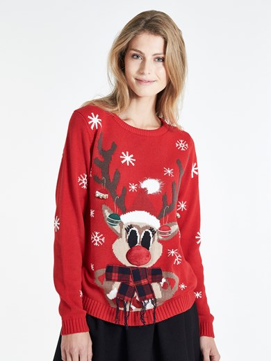 Röd - FUNNY CHRISTMAS SWEATER
